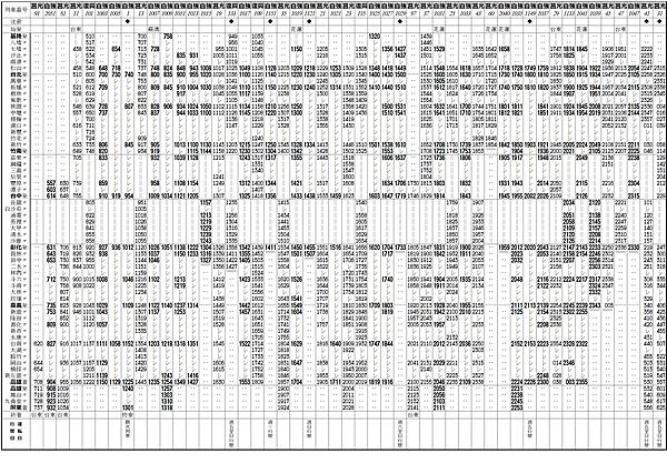 西部幹線時刻表(0801)