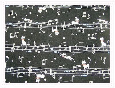 小喵咪與高音符記號   黑色