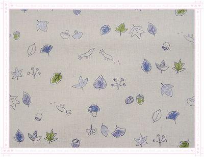 落葉、磨菇、鳥兒、栗子(藍綠色)
