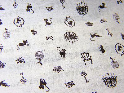 鳥籠貓咪棉麻布(咖啡色)