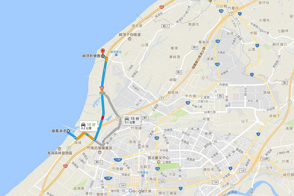 龍鳳港與崎頂新樂園距離
