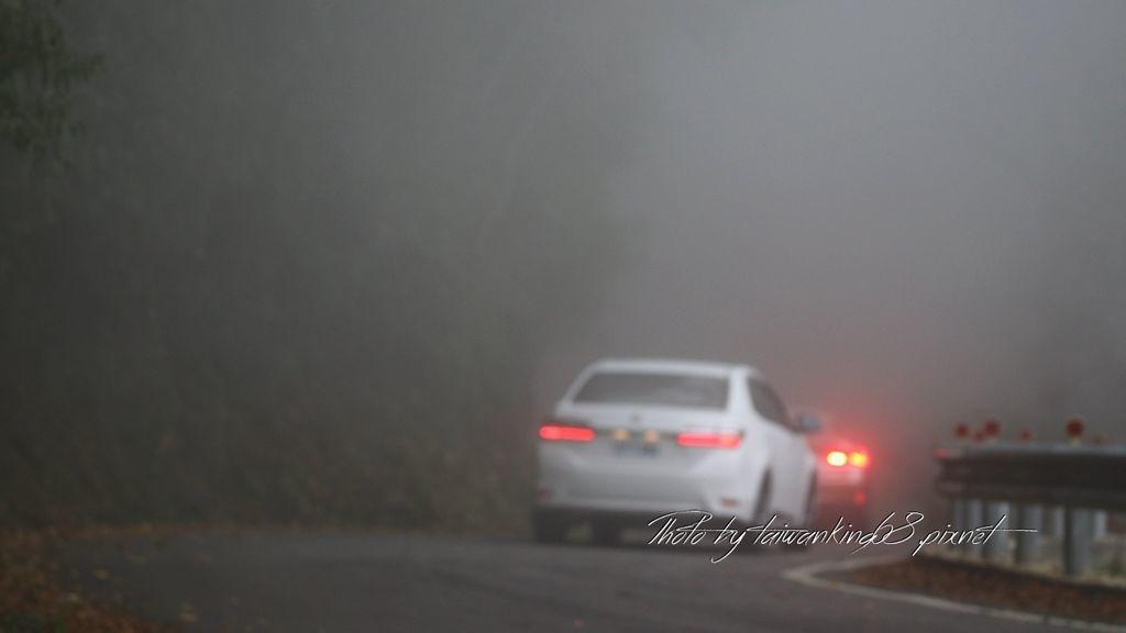 起霧的雪山路