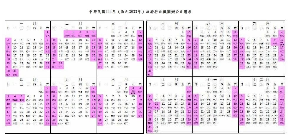 明年春節9天假 3天以上連假有7個