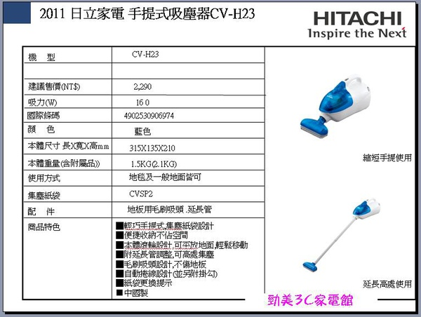 日立手提吸塵器CV-H23