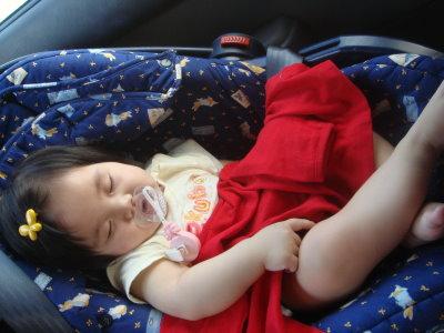 經過一下午玩耍,一上車就睡著了