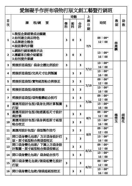 愛無礙手作拼布袋物打版文創工藝暨行銷班-課程表_頁面_1