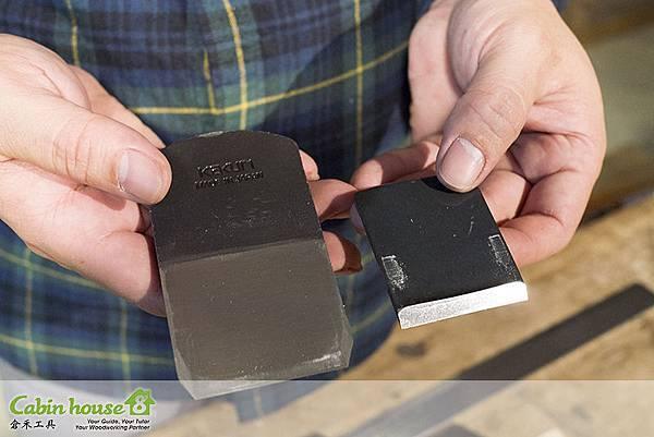 左邊是刨刀刀片,右邊是刨刀壓鐵