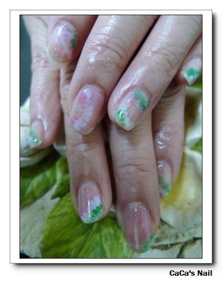 Calgel光療指甲~粉綠嫩春