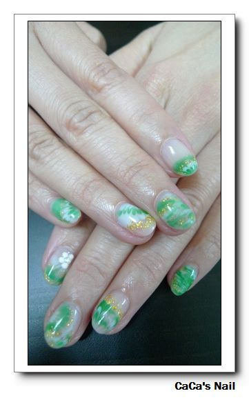 Calgel光療指甲~翠綠花燦