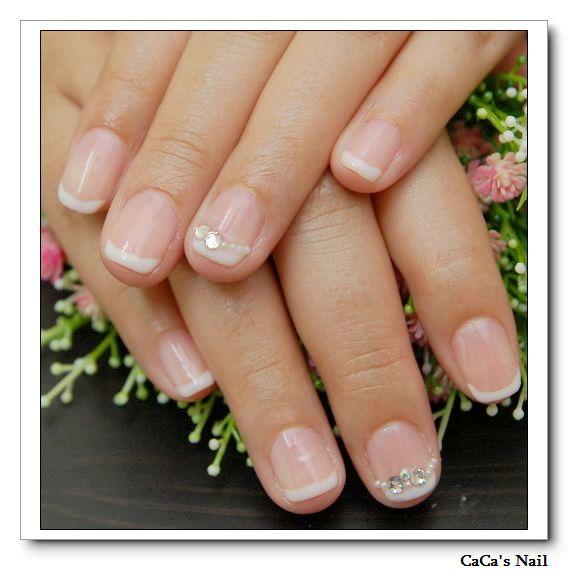 Calgel光療指甲~法式綴鑽