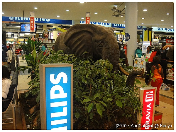 最常逛的超市Nakumatt,門口有大象耶!