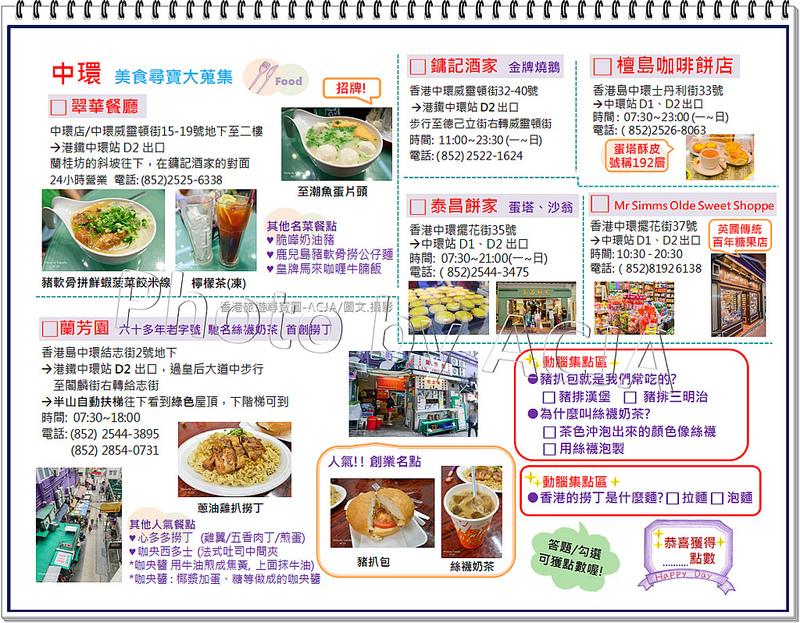 ACJA 香港旅遊尋寶圖-中環美食-1