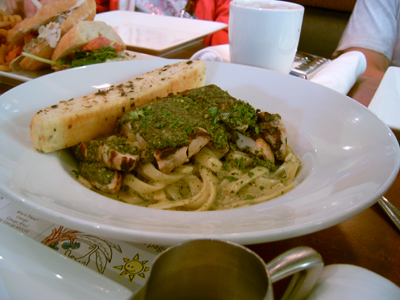 Grilled Chicken Pesto Fetucinni