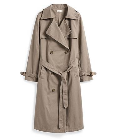 雙排釦綁帶風衣外套