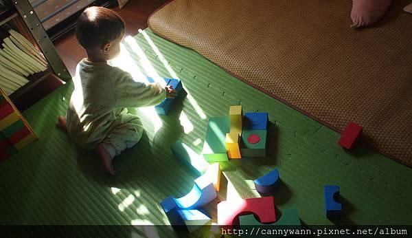 雪莉玩積木