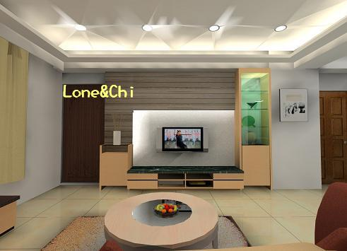 客廳3D電視牆正面
