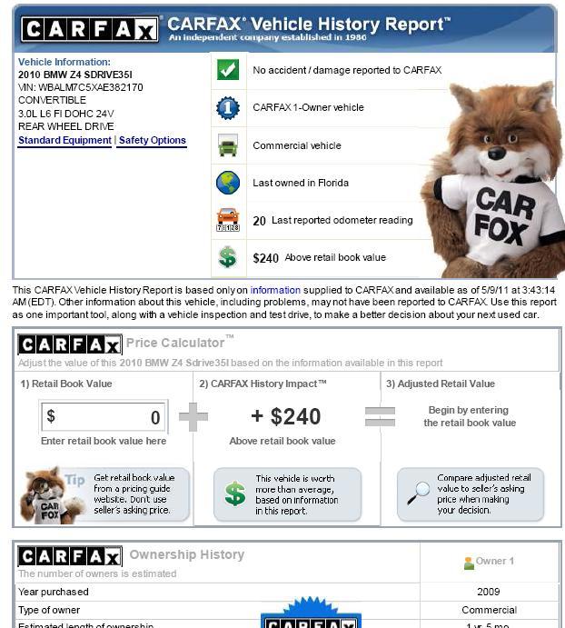 2010 BMW Z4 Carfax report 免費 AutoCheck 和 carfax 報告 - 美國二手車買賣必讀之車輛歷史資料, 外匯車車況報告autocheck & carfax怎麼看,Carfax & Autocheck教學分享