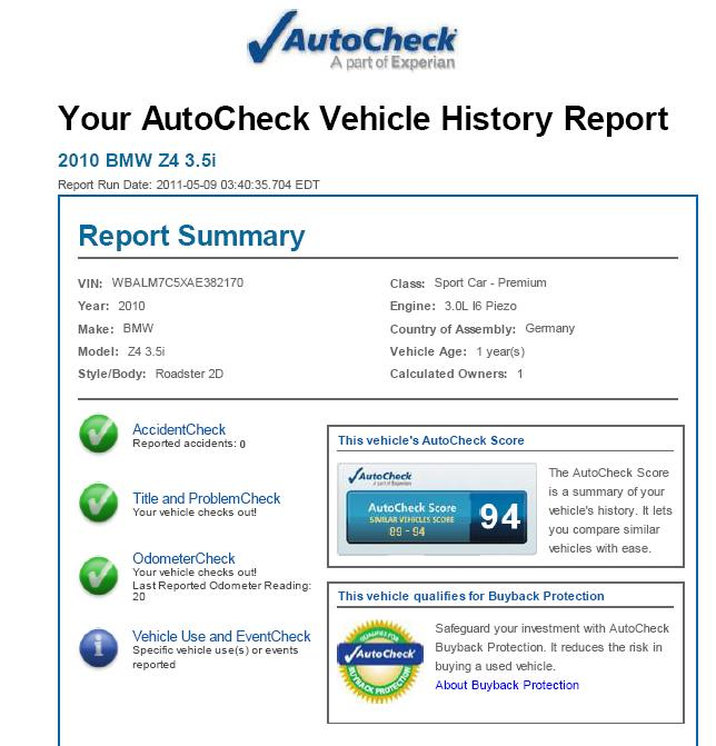 2010 BMW Z4 Autocheck reports