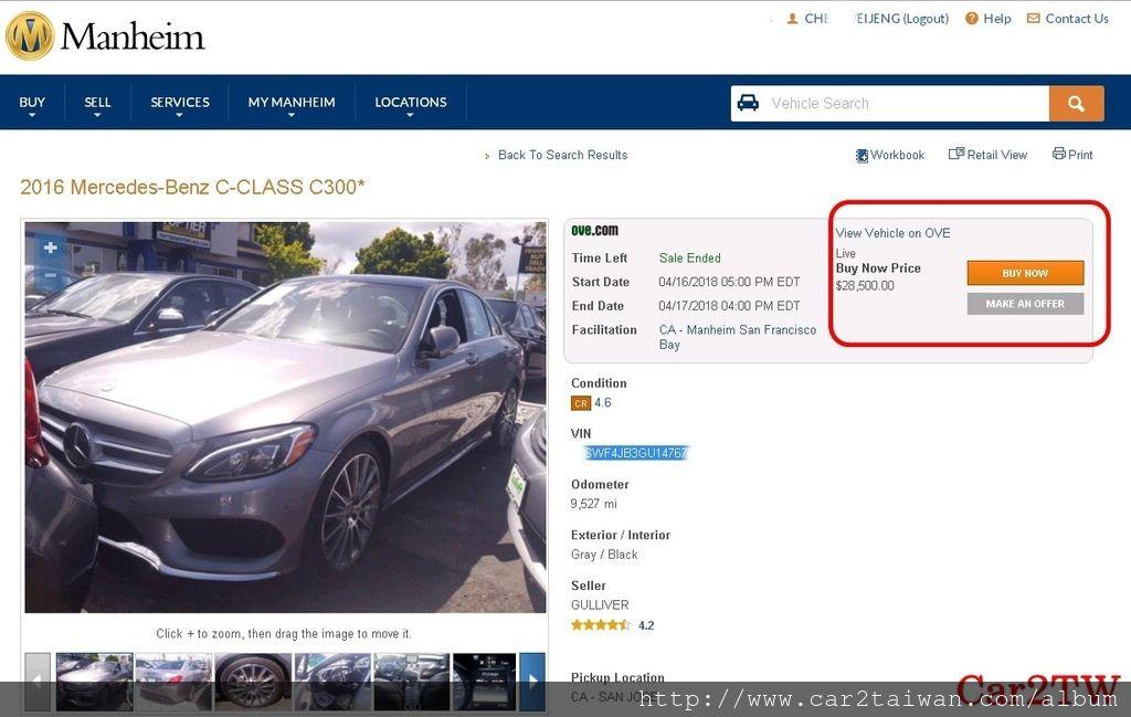 2016年賓士C300 AMG大滿配, 在美國車商官方網站上面的售價為美金$33998元, 但是同一台車在拍賣場如下圖,售價只需要美金$28500元, 同一台賓士C300 AMG在兩個地方價差高達美金$5500元, 如果自辦進口這台賓士C300去台灣,成本更可以節省20萬台幣以上。  為什麼在拍賣場買車比較便宜呢? 因為拍賣場買車賣車都是車商同行, 不用後續保固也不用服務,價錢當然便宜。 如果要在台灣成立進口外匯車商,買車當然要先查看拍賣場。美國買車運回台灣推薦Car2TW