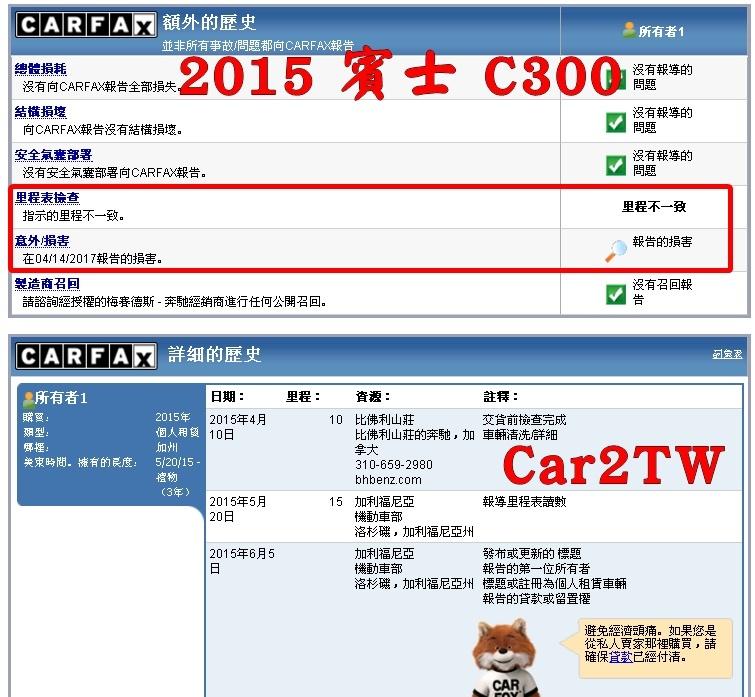 2015賓士C300 carfax中文查詢報告
