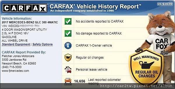 2017賓士GLC300 AMG 國外CARFAX報告,買美規車一定要看了解CARFAX及Autocheck報告,避免買到檸檬車Lemon car