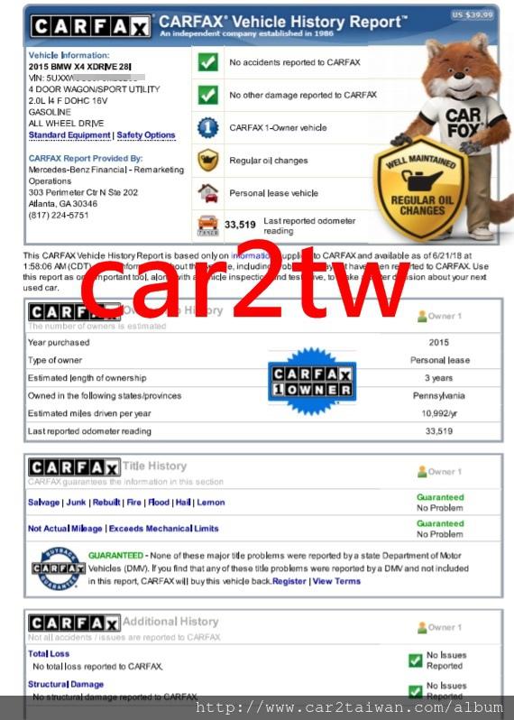 還在擔心買到事故車、泡水車、檸檬車嗎?  提醒各位任何車在購買進口前,一定要查詢carfax&autocheck檢查報告,