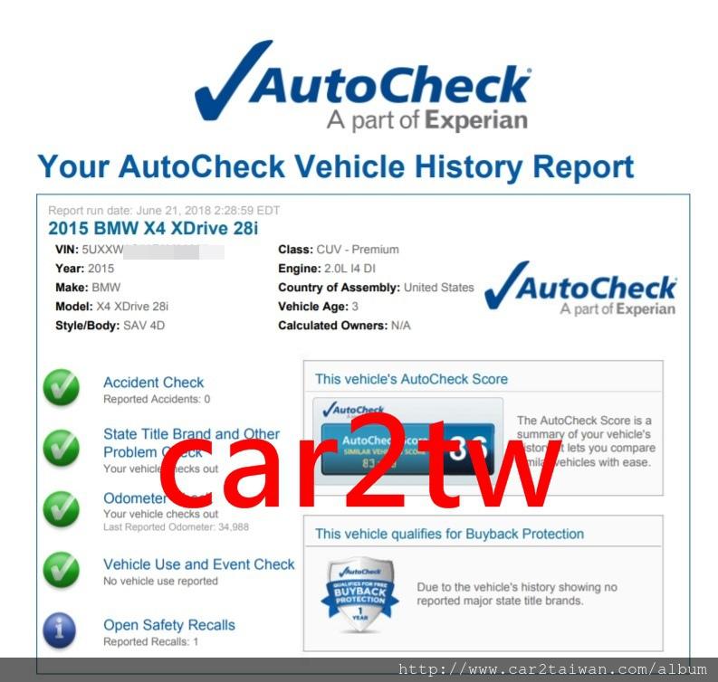 BMW X4 xDrive28i F26國外報告autocheck,autocheck報告可以看的出有沒有事故紀錄及車籍資料Title文件是否有問題,是買外匯車時重要參考資料