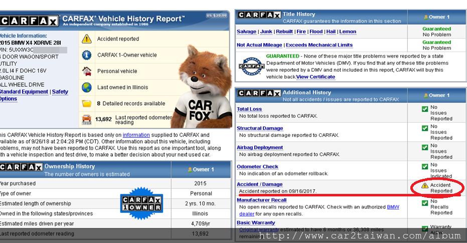 彰化李先生對BMW X4 xDrive28i F26很有興趣也自己上網找到車,為了想了解車輛的情形,  請car2tw幫他查詢這台BMW X4 xdrive28i F26的carfax檢查報告