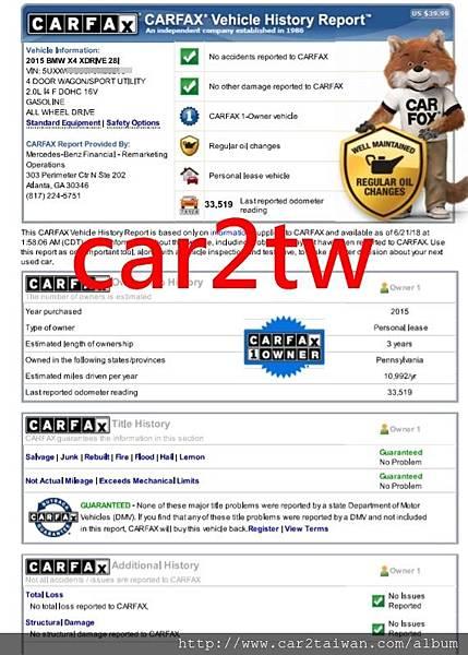 BMW X4 xDrive28i F26 carfax