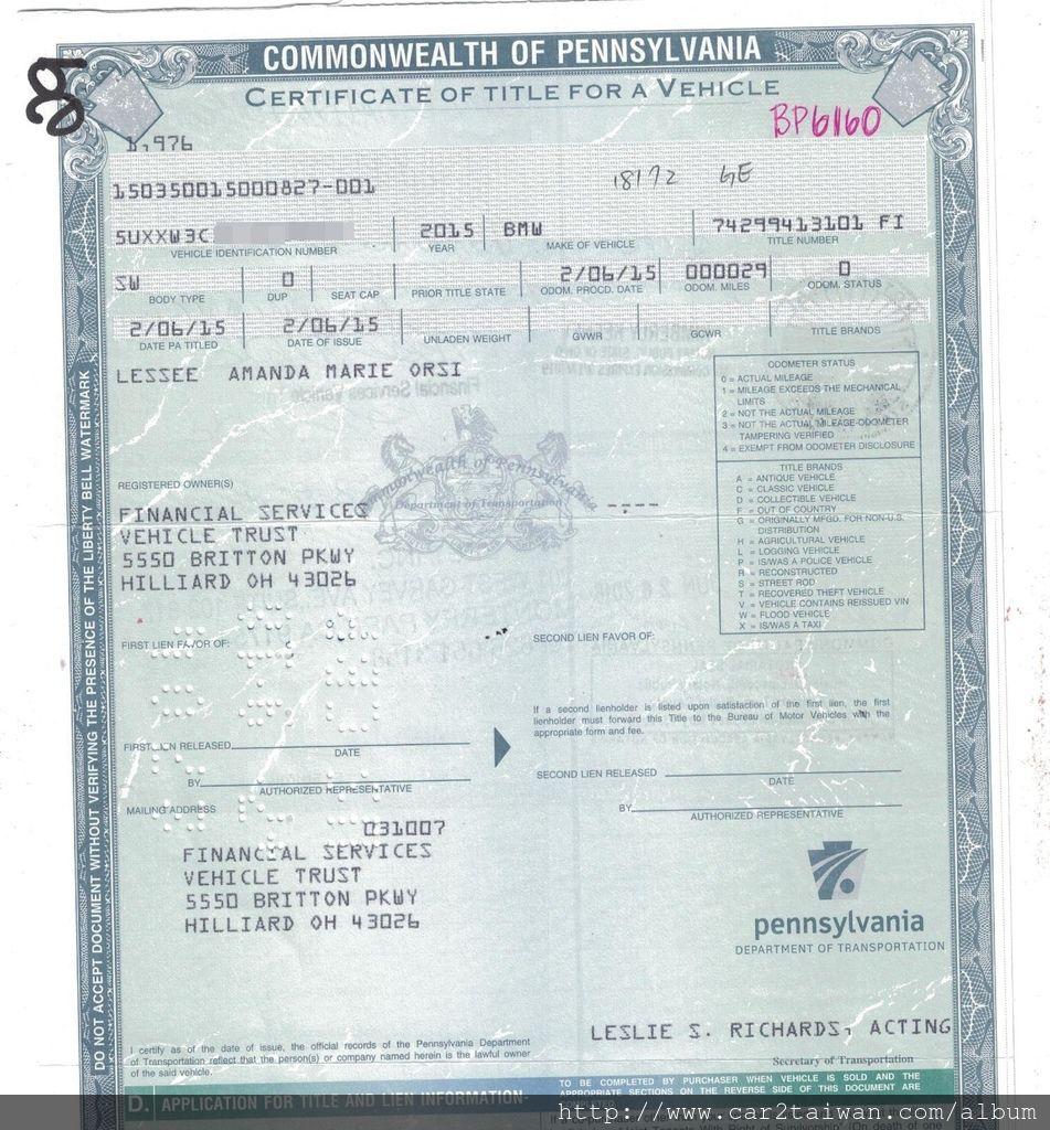 BMW X4 xdrive28i F26 車主證,美規外匯車要運回來台灣不管是報關,車測還是領牌都需要這一張美國車主證(title)