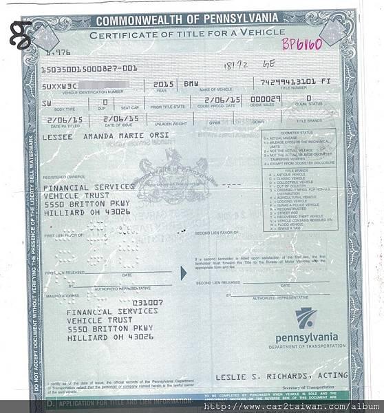 BMW X4 xdrive28i F26 車主證