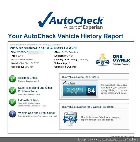 15 BENZ GLA250回台的autocheck