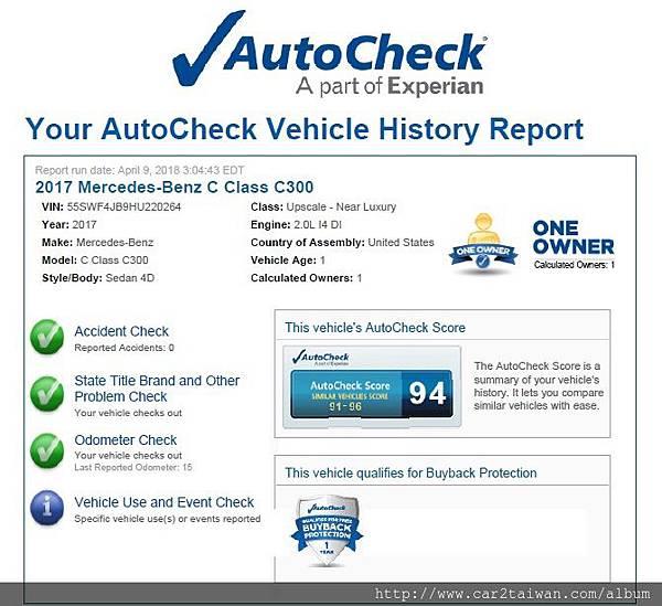 17年外匯車賓士 C300 autocheck