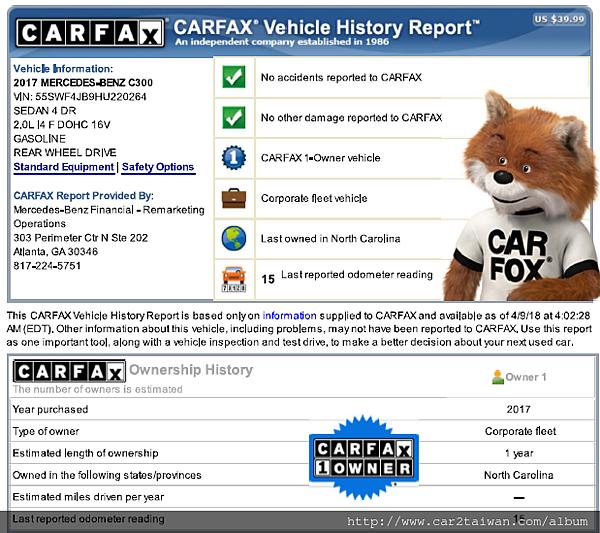 17年外匯車賓士 C300 carfax報告