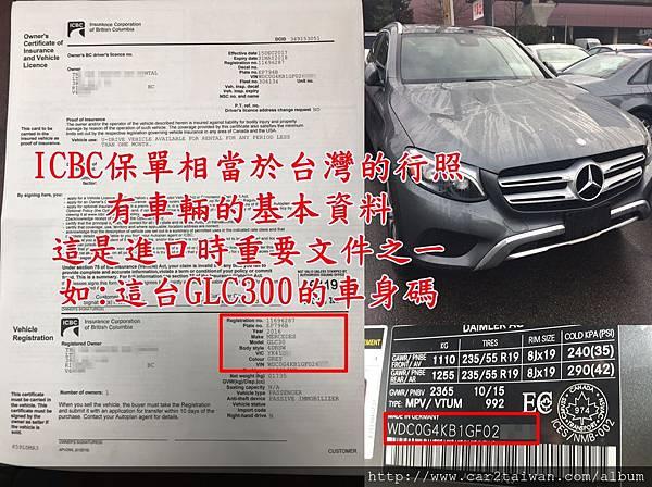 ICBC保單相當於台灣的行照,有車輛的基本資料.jpg