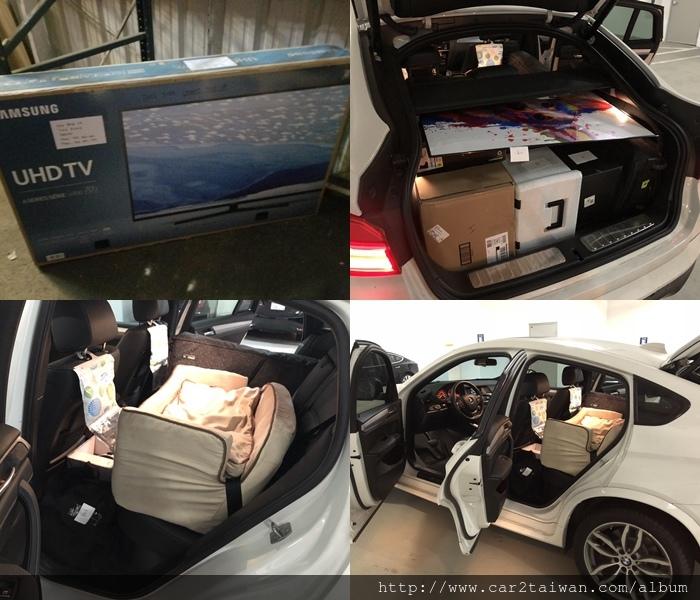 加州麥先生將16 X4 28I運回台灣,圖片為BMW X4及行李在美國倉庫照,準備安排上船用海運方式將車及行李運到台灣港口, Car2TW協助留學生麥先生國際搬家實例