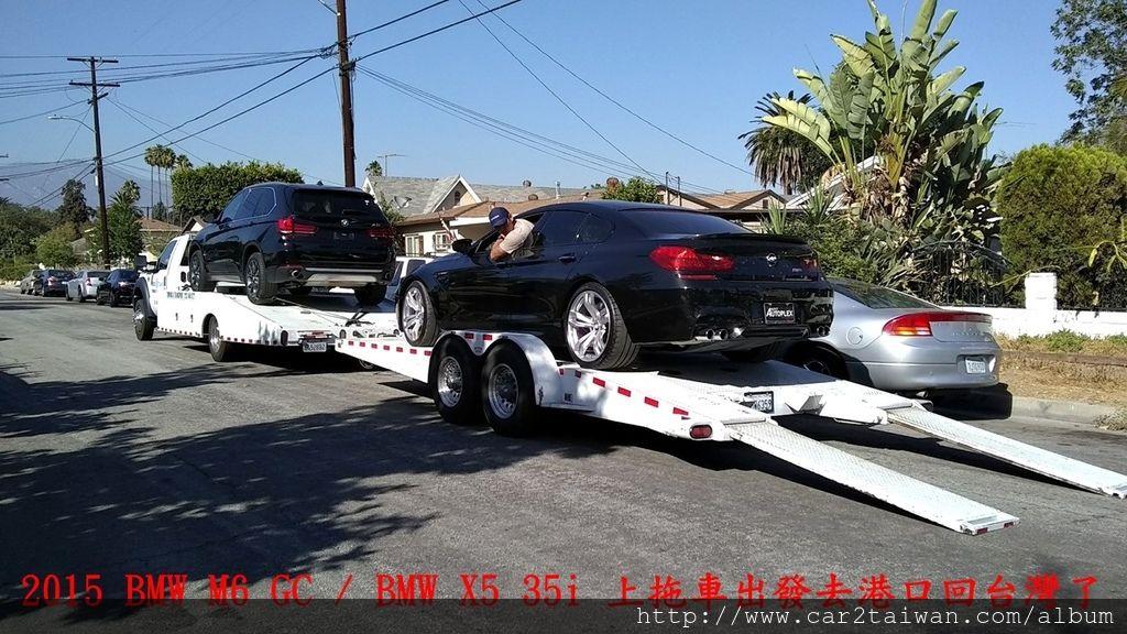 美國加拿大運車回台灣外匯車代辦BMW M6跟X5 35i美國拖車照片