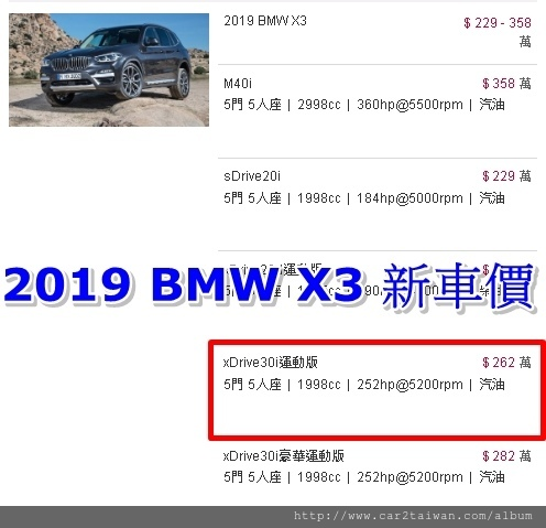 2019 X3 新車價