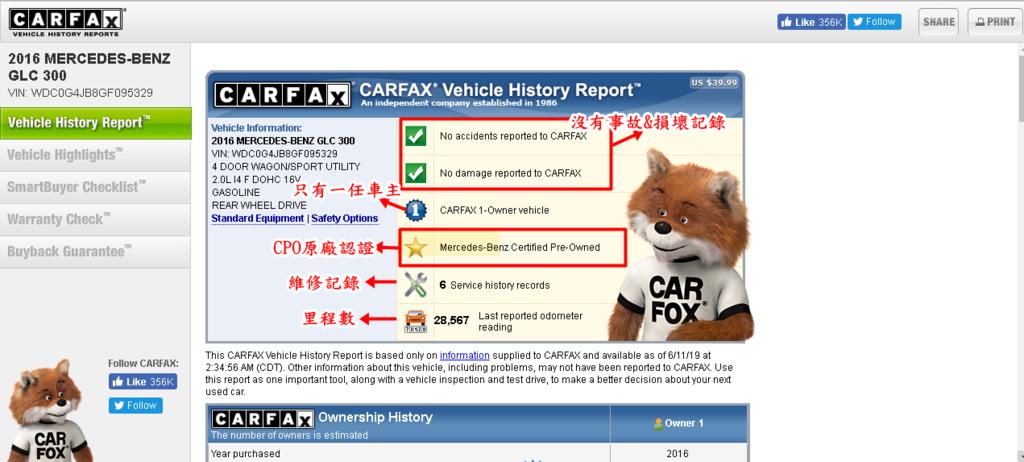 點擊CARFAX會打開CARFAX報告,  先看到綠色打勾介紹此款車沒有發生過交通事故,沒有任何破壞或損壞記錄哦~  圓圈上面有個數字1 說明此款車在美國只有一任車主哦~  五角星圖片,此為二手車CPO原廠認證的  有個維修工具的圖片點擊進去看到此車在哪些地方維修記錄  有個汽車圖片可以看此車行駛里程數