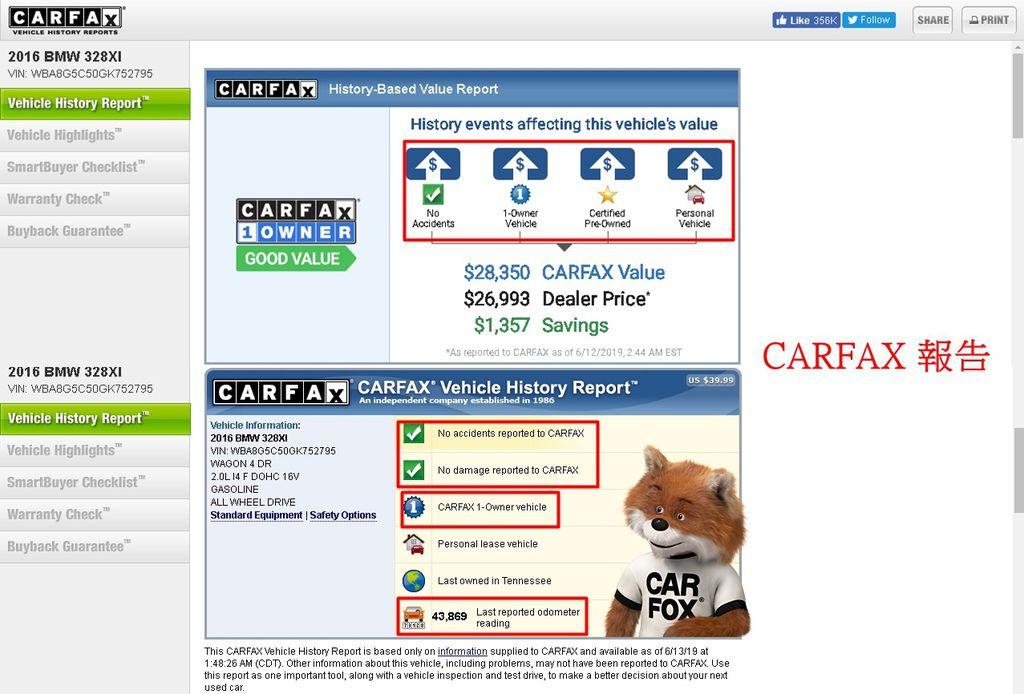 CARFAX報告有介紹此車無交通事故,只有1任車主,原廠CPO認證,個人車輛,里程數等介紹,點擊紅框內容會有更詳細解說哦~