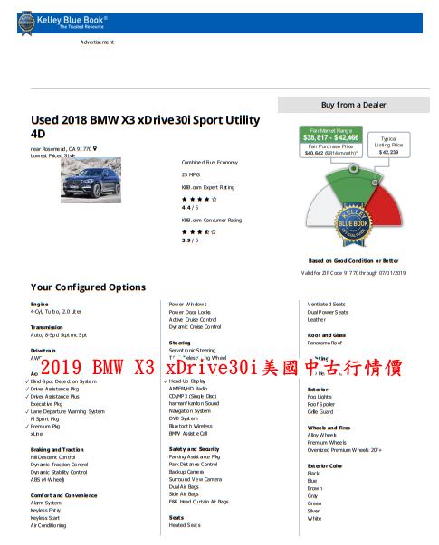 2018 BMW X3 X3 xDrive30i美國中古行情價格參考表,2018 BMW X3中古行情價格$38817-$42466(美金),MSRP價格$42239(美金).同樣可以清楚看到這臺車所選擇配備有那些哦~