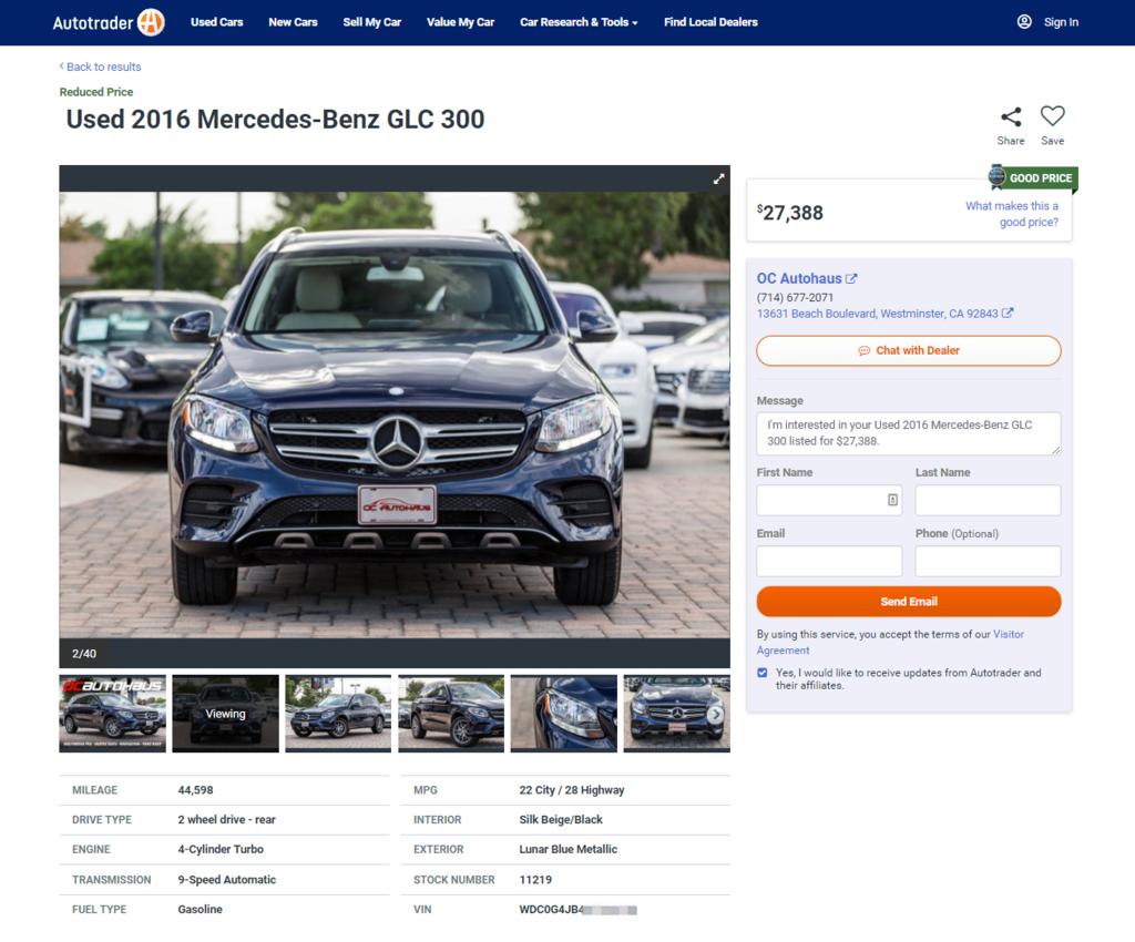 代購賓士 GLC 300外匯車需要多少價錢呢?3-4萬美元可以從美國買到Mercedes-Benz GLC 300嗎? 美國2020年賓士 GLC 300 4MATIC新車價格範圍和2016 Mercedes-Benz GLC 300 中古車市場價格範圍是多少呢? 下圖為美國買車網站提供的賓士GLC300市場價格範圍來讓想從美國買車的朋友來做參考, 2016 Mercedes-Benz GLC 300 美國中古市場價格範圍大約是落在美金25,611-28,792之間; 美國2020年賓士 GLC 300 4MATIC新車市場建議價格落在美金50,750, 外匯車賓士 GLC 300代購從美國海運回台灣推薦來Car2TW專業外匯車商比較一下。