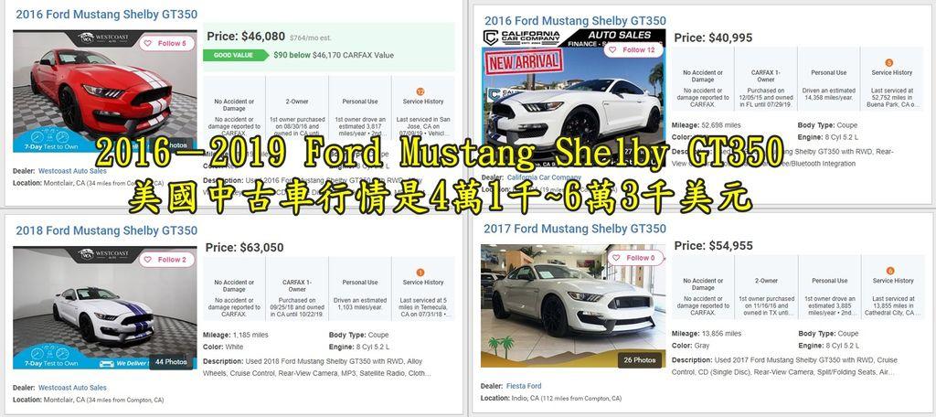外匯車Ford GT350回台灣要多少錢呢? 2016-2019 Ford Mustang Shelby GT350美國中古車行情是4萬1千~6萬3千美元,(如上圖為美國中古車網站截圖) 如果外匯車Ford GT350代辦回台灣大約需要多少錢呢? 從代辦Ford GT350從美國買車到台灣可以領牌上路大約會需要260萬~380萬新台幣左右, Ford Mustang Shelby GT350真的是外觀很酷的好車所以美國中古車價格也就不會太便宜, 如果買車的價格太高很可能會課徵台灣進口奢侈稅, 讓原本就要繳的台灣進口關稅外又要多一筆,想想真是划不來呀! 美國中古車有些車非常貴像是Ford GT350就屬於這一類, 而且再選到好一點或是多一點配備的車再加上美國內陸運費及從美國海運回台灣的海運費用, 想要不超過台灣進口奢侈稅的標準可是蠻難的, 當然不是非常貴的車不能進口回台灣,只要您可以接受高額的進口關稅及奢侈稅, Car2TW非常樂意為您代購Ford GT350回台灣喔!