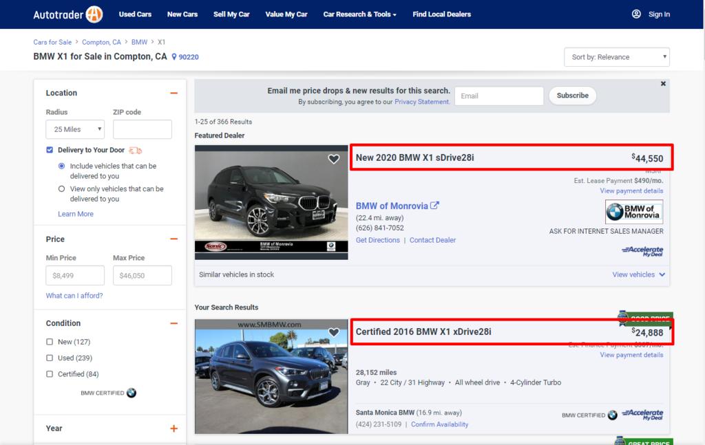 BMW X1外匯車價格區間是多少呢?美國買BMW X1需要多少錢呢?  上圖為美國買車網站autotrader.com的BMW X1價格查詢,2020年的新車BMW X1 sDrive28i價格為44,550美金,而中古車2016 BMW X1 xDrive28i的價錢是24,888美金,這台黑色2016 BMW X1里程數為28,152英哩,為什麼價格差這樣多呢?除了新車與中古車的差別外,年份、配備、車況和里程數等都會影響汽車的售價喔!如果有上買車網站瀏覽過的車友們一定都知道中古車都是一車一況,所以想要買到物超所值的外匯車一定要會用CP值買車法來找到最適合自己的車喔!什麼是CP值買車法?如何利用CP值買車法挑到最適合自己的車呢?CP值買車法適用在所有外匯車上嗎?關於CP值買車法歡迎參加car2tw自辦外匯車教學分享會現場和你分享喔!有關於外匯車相關問題也歡迎來現場直接提問立即回覆喔!