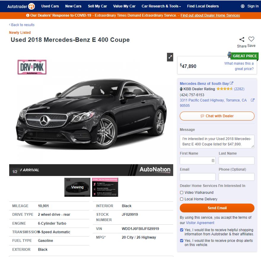賓士外匯車E400 Coupe價格是多少呢? 2018 賓士 E400 coupe 3.0L雙門C238價格區間210-290萬, 配備越多里程數越低,價格越貴,相對的里程數越高,價格越低 以上圖這台賓士E400在美國賣車網站上的價格為47,890美元, 粗估代辦進口運回台灣後的價格大約會落在285萬左右, 想要買白色的Benz E400 Coupe嗎?還是想代辦進口賓士400 Coupe嗎? 歡迎來Car2tw諮詢喔!