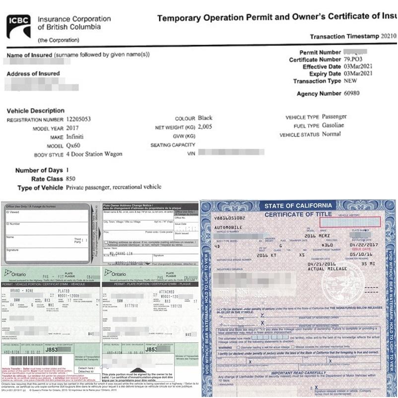 從美國、加拿大運車必備文件:車主證:美國為Title、加拿大為ICBC、多倫多為Ownership