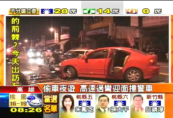 偷車夜遊 高速過彎迎面撞警車