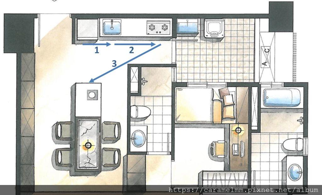 廚房一字形動線(上磊方庭寓所).jpg