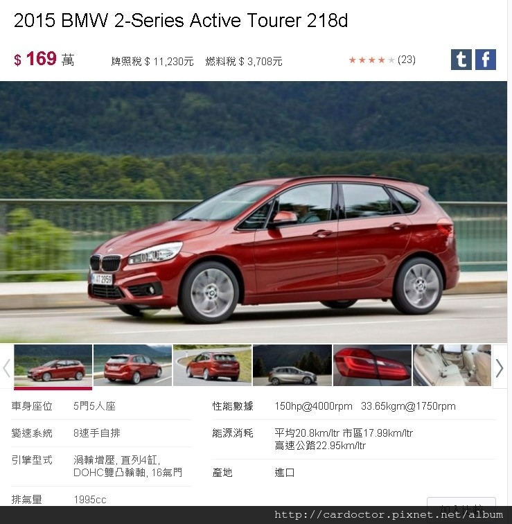 2015 BMW 218D AT新車售價169萬,引擎排氣量CC數1995cc,引擎馬力150hp@4000rpm扭力33.65kgm@1750rpm,平均油耗20.8km/ltr 市區油耗17.99km/ltr,高速公路油耗22.95km/ltr,8速手自排,渦輪增壓, 直列4缸, DOHC雙凸輪軸, 16氣門,5門5人座。