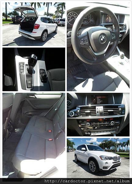 2014/12 2015年式 BMW X3-28i 接單代購價:130萬。 里程:3.7萬mi,配備:小螢幕、HID頭燈、記憶座椅、胎壓監測儀 。